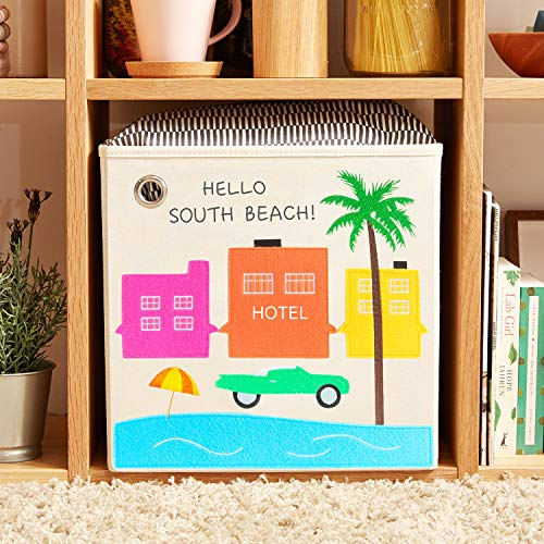 kaikai & ash Canvas Storage Bin, Nursery Bedroom, Toy Box Cube Organizer for Kids Newborns and Infants, Baby Shower Gift Basket, 13 inch Square, Collapsible, South Beach
