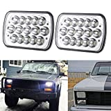 "5"" x 7"" 7x6 Inch Rectangular LED Headlights for Jeep Wrangler YJ Cherokee XJ Comanche MJ Grand Wagoneer Chevrolet GMC Dodge H5054 H6054LL 69822 6052 Trucks 4X4 Offroad Headlamps Replacement"