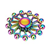 Livoty NEW Alloy Hand Spinner Tri Fidget Focus Toy EDC Finger Spin Gyro ADHD Autism (Colorful)