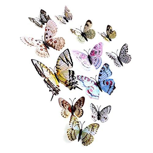 Clearance! Leyorie 3D Butterfly Wall Sticker Fridge Magnet Decal Room DIY Mural Decor Applique