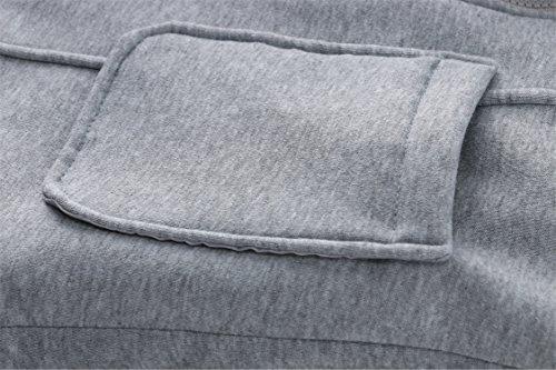 Warm Buttons SZIVYSHI Top Pocket Duffle Light Grey Buffalo Hooded Hoodie Horn Full Fleece Coat Thick Jacket Zip Cotton Lined Closure 55xrFZP