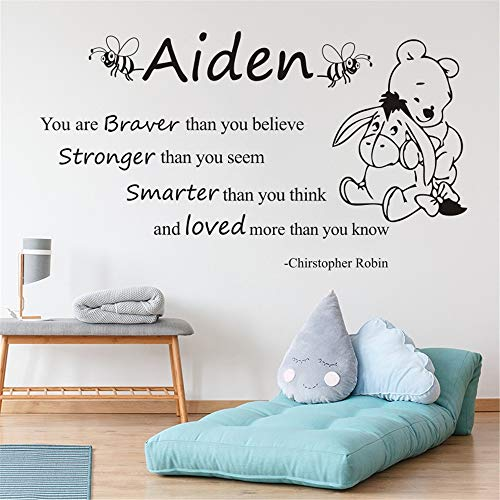 Quotes Wall Sticker Mural Decal Art Home Decor Winnie The Pooh for Kids Room Personalized Name Removeable Decal for Nursery Kids Bedroom]()