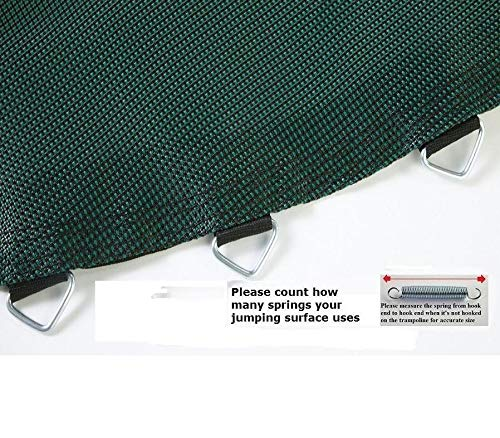 JumpKing Jumping Surface Black & Green Jumping Surface for 15' Trampoline with 96 v-Rings for 7'' Springs