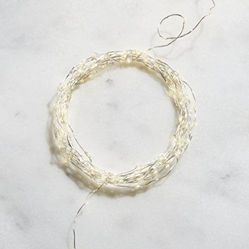 2' Scale Miniature (Strand of 150 Neutral White LED Silver Wire Fairy Lights with BOTH Battery Box & Plug-In Transformer Included, Suitable for Indoor and Outdoor Use)