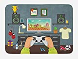 Lunarable Gamer Bath Mat, Gaming Guy in His Flat with Diplomas Loud Speakers Boxing Gloves Jump Rope and Trophy, Plush Bathroom Decor Mat with Non Slip Backing, 29.5 W X 17.5 W Inches, Multicolor