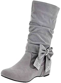 d7e25434799b Easemax Women s Trendy Frosted Pleated Bows Rhinestones Round Toe Low Hidden  Heel High Boots
