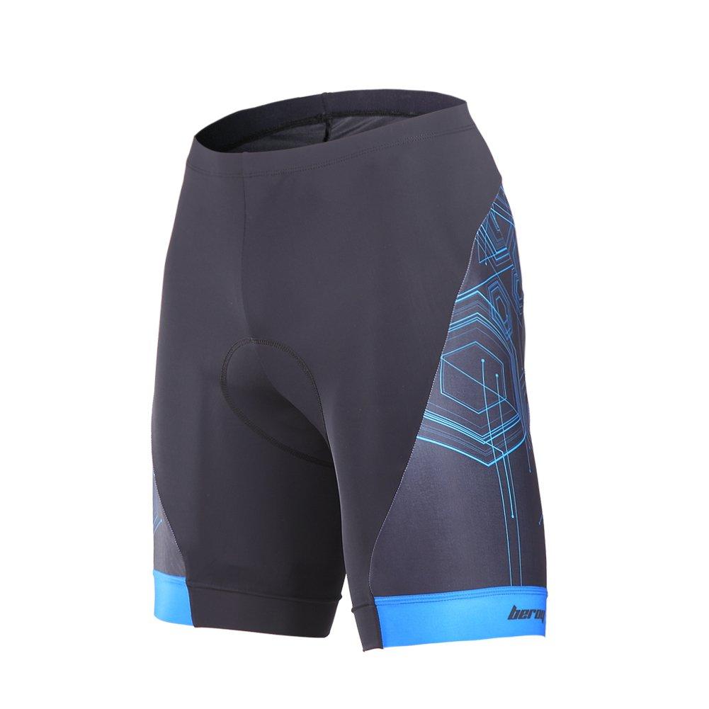 Beroyメンズ快適な自転車サイクリングパンツ、3dパッド入りバイクショートパンツ B01N1HWFPI L|ブルー ブルー L