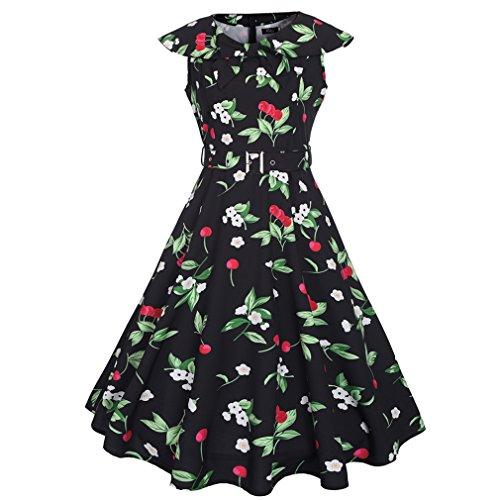 Honghu Elegante Vintage Vestido Sin Mangas de la Vendimia para Mujer De Impresión por la rodilla Vestido de Casual Negro