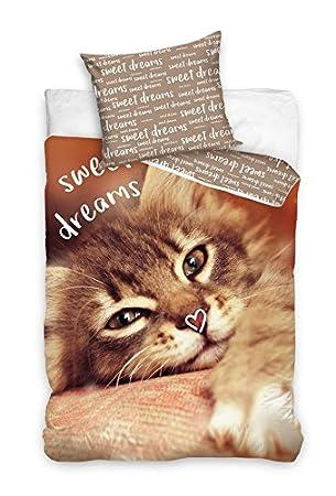 2 Tlg Jugend Bettwäsche Katze Sweet Dreams Schöne Träume 140x200 Cm