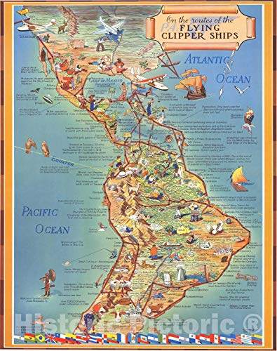 (Historic Map | On the routes of the flying clipper ships : [in Latin America] 1935, Historic Map | Vintage Wall Art | 34in x)