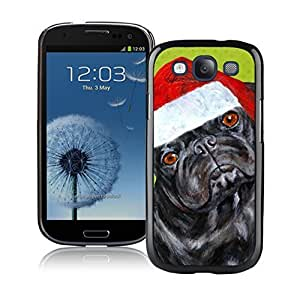Custom-ized Christmas Black Dog With Red Hat Black TPU Phone Case For Samsung Galaxy S3,Samsung I9300 Cases