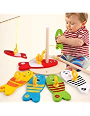 Sanwooden Toy Gift Fishing Toy Wooden Montessori Colorful Fishing Digital Column Game Early Educational Toys Toys for All Ages