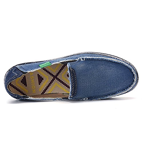 Blivener Mens Canvas Loafers Slip On Cloth Shoes Casual Flats Blue c4QBXk5W