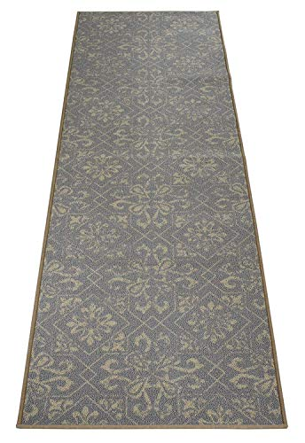 RugStylesOnline Custom Size Runner Trellis Floral Abstract Design Roll Runner 26 Inch Wide x Your Length Size Choice Slip Skid Resistant Rubber Back (Grey Cream, 18 ft x 26 in)