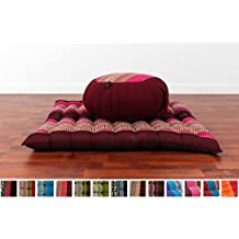 Meditation Set: Zafu Cushion, Zabuton Mat, 30x28x10 inches, Kapok Fabric, Blue