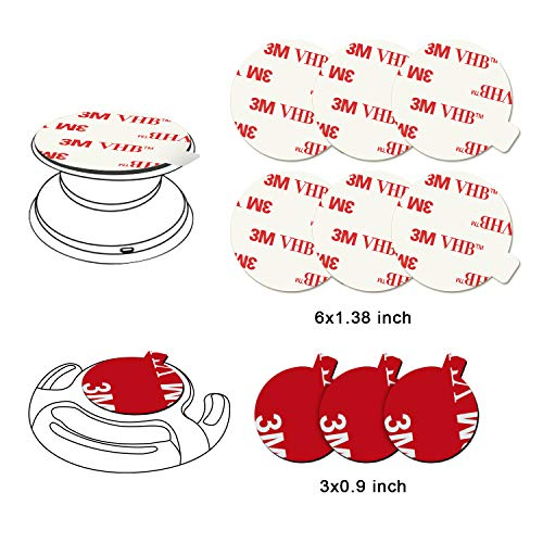 Sticky Adhesive Replacement for Socket Mount Base, Pop-tech 6 Pack Extra Strong 3M VHB Sticker Pads for Grip Holder & Stand Back with 3 Pcs Double Sided Tape for Magnetic Phone Holder