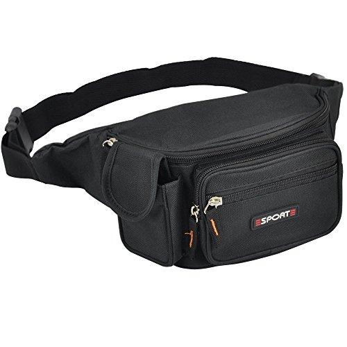Yahee Geldtasche Gürtel Tasche Gürteltasche Sport Bauchtasche Hüfttasche mit 5 Fächer (schwarz)