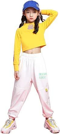 LOLANTA 2 piezas Niñas Trajes de Hip Hop, Chicas Camiseta, Pantalones de Chándal Conjunto de Ropa
