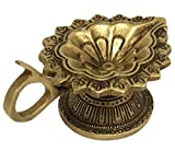 ShalinIndia Floral DecorDiyafor Five Wicks Brass Metal Art Oil Wick Lamp 1.5 x 4.25 x 2.5 inches 250 Grams