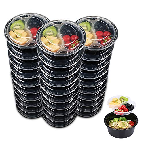 E-Gtong [30 Pack] Meal Prep Containers(41 OZ) - 2 Layers and 3 Compartments with Lids, BPA Free Food Storage Bento Box, Stackable & Reusable Lunch Boxes