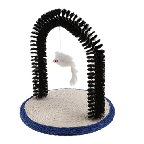 Baosity Self Grooming Cat Massage Arch with Scratching Pad and Mouse Toy,Massaging & Stimulating Your Cats