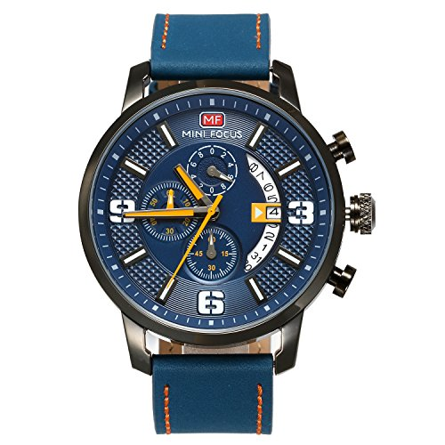 Men's Japan Quartz 3ATM Water Resistant Military Calendar Analog Watch with 3 Sub-Dials (Blue) - Military Analog Quartz Timepiece