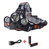 XCSOURCE RJ-3001 5000LM 3x CREE XM-L T6 LED Focus Headlamp Headlight Zoom Head Torch Lamp Bicycle Bike Front Lamp Camping Hiking Cycling Light + 2 X 18650 Rechargeable Battery + 1x USB Cable LD374