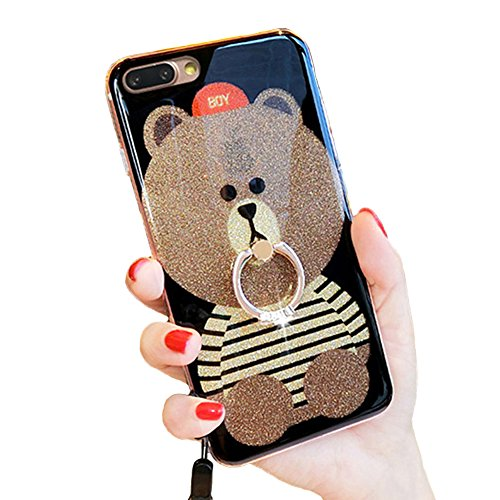 iPhone 7 Plus Kickstand Case, Cute Teddy Bear iPhone 7 Plus Bling Glitter Soft Silicone Rubber Protective Case for Girls with Finger Ring Stand (iPhone 7 Plus, Ring Bear (Bling Teddy)
