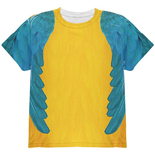 Child Blue Macaw Costume (Halloween Blue & Yellow Parrot Macaw Costume All Over Youth T Shirt Multi YSM)
