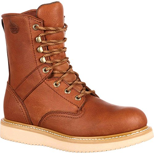 Georgia Boot Men's 8 Inch Wedge Work Shoe, Barracuda Gold, 10 W US