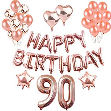 Weimi 90th Birthday Decorations Rose Gold For Women Inflating Foil HAPPY BIRTHDAY Banner Star Heart