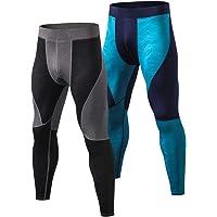 Bmeigo 2 Paquetes Hombres Compresión Leggins Aptitud Pantalones para Running Entrenamiento Cool Dry