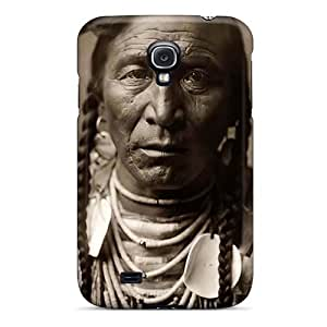 First-class Case Cover For Galaxy S4 Dual Protection Cover Native American Warrior Face