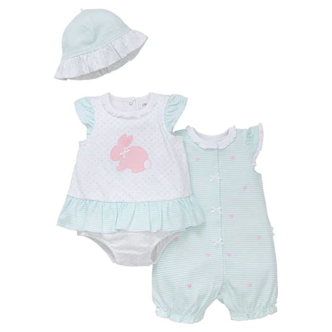 42cda8e53 Amazon.com: Little Me Baby Girls' 2-pack Romper with Hat, Aqua and ...