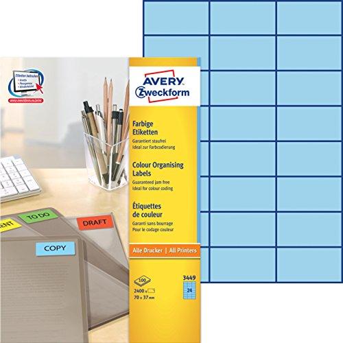 Avery Zweckform 3449 Farbige Etiketten (A4, 2.400 Stück, 70 x 37 mm) 100 Blatt blau