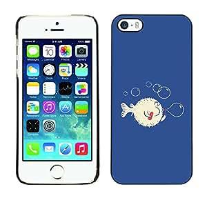 Paccase / SLIM PC / Aliminium Casa Carcasa Funda Case Cover - Funny Pugu Puffer Fish - Apple Iphone 5 / 5S