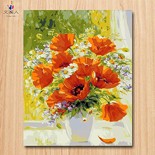 40x50 with frame 4033 KYKDY coloring by Numbers Lily Flower in White vase Pictures Painting by Numbers Flowers DIY Drawing on Canvas with colors for Adults,2035,80x100 no Frame