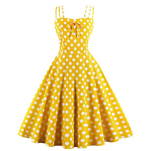 Women Girl Vintage Polka Dot Print Ruffles Bowknot A-line Sleeveless Slip Dress Elegant Bodycon Ball Party Prom Retro Big Swing Summer Cool Skirt Bright Yellow(M)