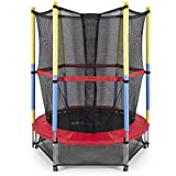 NEW 55'' Round Kids Mini Trampoline w/ Enclosure Net Pad Rebounder Outdoor Exercise