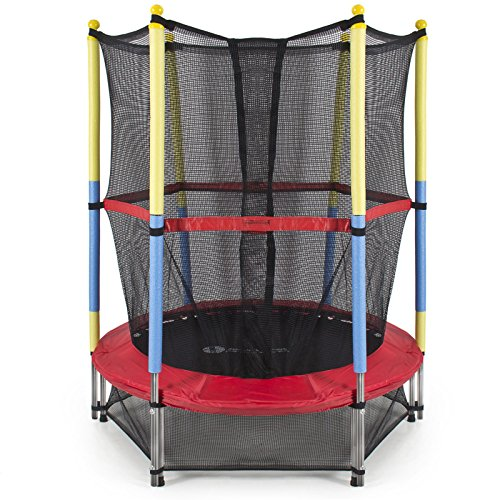 NEW 55'' Round Kids Mini Trampoline w/ Enclosure Net Pad Rebounder Outdoor Exercise by Unknown