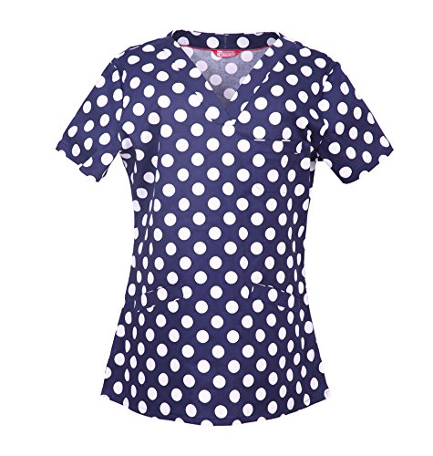 Dot Scrubs - Tailors Women's Medical Print Scrub Top (M, Polka Dots with Dark Blue Background)