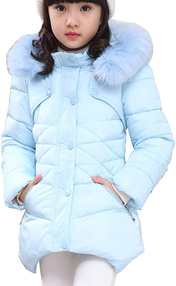 Kids Girls Faux Fur Jacket Coat Lapel Fleece Lined Winter Warm Lace Outwear Snowsuit