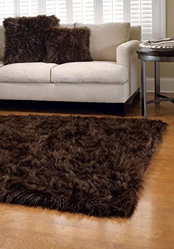 Flokati Faux Fur Rugs 6 x 6 Chocolate