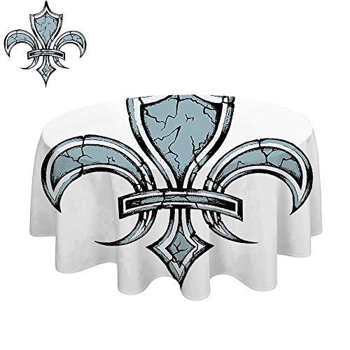 SATVSHOP Round Table clothes-60Inch-Fleur De Lis Grungy Lily etro enaissance Spirit Element Victory Holy Artwork Blue White Black. -