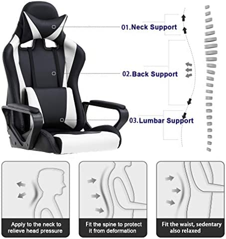 Ergonomic Office Chair PC Gaming Chair Desk Chair PU Leather Racing Chair Executive Computer Chair Swivel Rolling Lumbar Support for Women&Men, White 51a86Z1QRQL