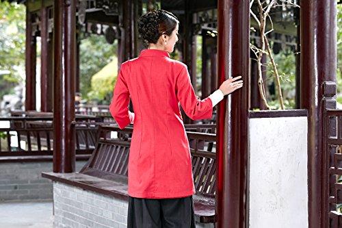 Veste Chanvre De Elégant 3 Tang Manche Coton Lotus Longue Costume Des Acvip 4 Motif Rouge Chinoise Femme ZEqnEf