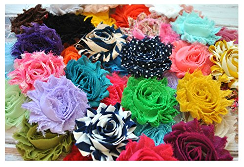 YYCRAFT 30 pieces Shabby Flowers  Chiffon Fabric Roses  25quot  Solids and Prints Included  Assorted Color Mix
