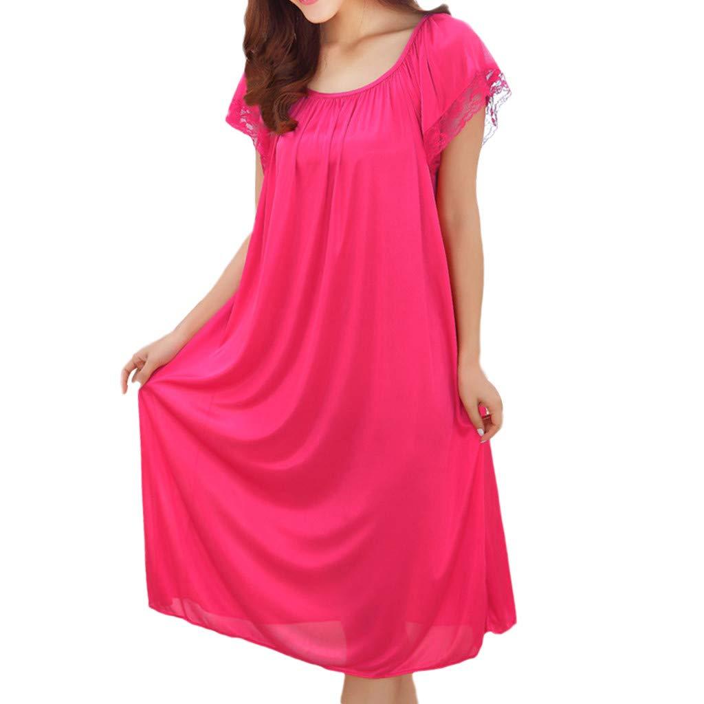 Xinantime Solid Color Sleepwear Women Short Sleeve Sleepy Tee Shirt Soft Sleepshirt Ruffle Seams Nightgown Hot Pink