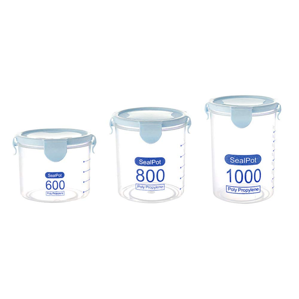 LiPing 3PCS Kitchen Storage Box Sealing Food Preservation Plastic Fresh Pot Condiment Storage Container Rack (blue)