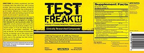 Pharmafreak Test Freak - Hybrid Vitamin/Mineral Supplement and Testosterone Booster - 120 Capsules